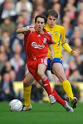 LIVERPOOL, ENGLAND - Saturday, January 26, 2008: Liverpool's Yossi Benayoun in action against Havant and Waterlooville's Jamie Collins during the FA Cup 4th Round match at Anfield. (Photo by David Rawcliffe/Propaganda)