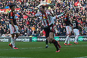 Sunderland's Defender John O'Shea celebrates Sunderland's winning goal during the Barclays Premier League match between Sunderland and Manchester United at the Stadium Of Light, Sunderland, England on 13 February 2016. Photo by George Ledger.