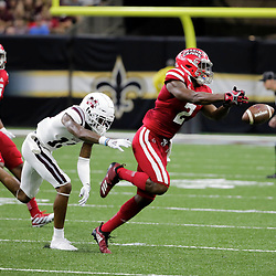 Aug 31, 2019; New Orleans, LA, USA; Louisiana-Lafayette Ragin Cajuns wide receiver Ja'Marcus Bradley (2) drops a pass as Mississippi State Bulldogs cornerback Tyler Williams (13) defends during the first half at the Mercedes-Benz Stadium. Mandatory Credit: Derick E. Hingle-USA TODAY Sports