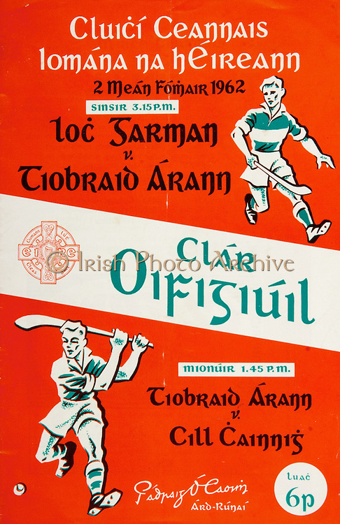 All Ireland Senior Hurling Championship Final,.02.09.1962, 09.02.1962, 2nd September 1962,.Minor Tipperary v Kilkenny, .Senior Wexford v Tipperary, Tipperary 3-10 Wexford 2-11,