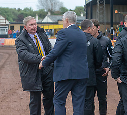 Berwick Rangers manager John Brownlie and Cove Rangers manager John Shearin at the end. Cove Rangers have become the SPFL's newest side and ended Berwick Rangers' 68-year stay in Scotland's senior leagues by earning a League Two place. Berwick Rangers 0 v 3 Cove Rangers, League Two Play-Off Second Leg played 18/5/2019 at Berwick Rangers Stadium Shielfield Park.