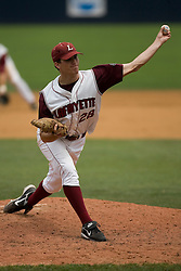Lafayette Leopards LHP Ted Gjeldum (28) pitches against Rutgers.  The Lafayette Leopards fell to the the Rutgers Scarlet Knights 11-10 in their second game of the NCAA World Series Regional held at Davenport Field in Charlottesville, VA on June 2, 2007.