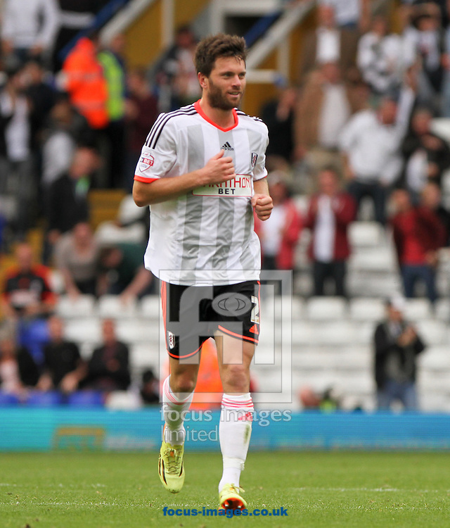 Tim Hoogland of Fulham celebrates scoring his sides first goal during the Sky Bet Championship match at St Andrews, Birmingham<br /> Picture by Tom Smith/Focus Images Ltd 07545141164<br /> 27/09/2014