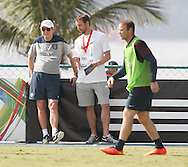 England manager Roy Hodgson (L) watches the England open training session while Wayne Rooney of England (R) walks by at Est&aacute;dio Claudio Coutinho, Urca, Rio de Janeiro<br /> Picture by Andrew Tobin/Focus Images Ltd +44 7710 761829<br /> 16/06/2014
