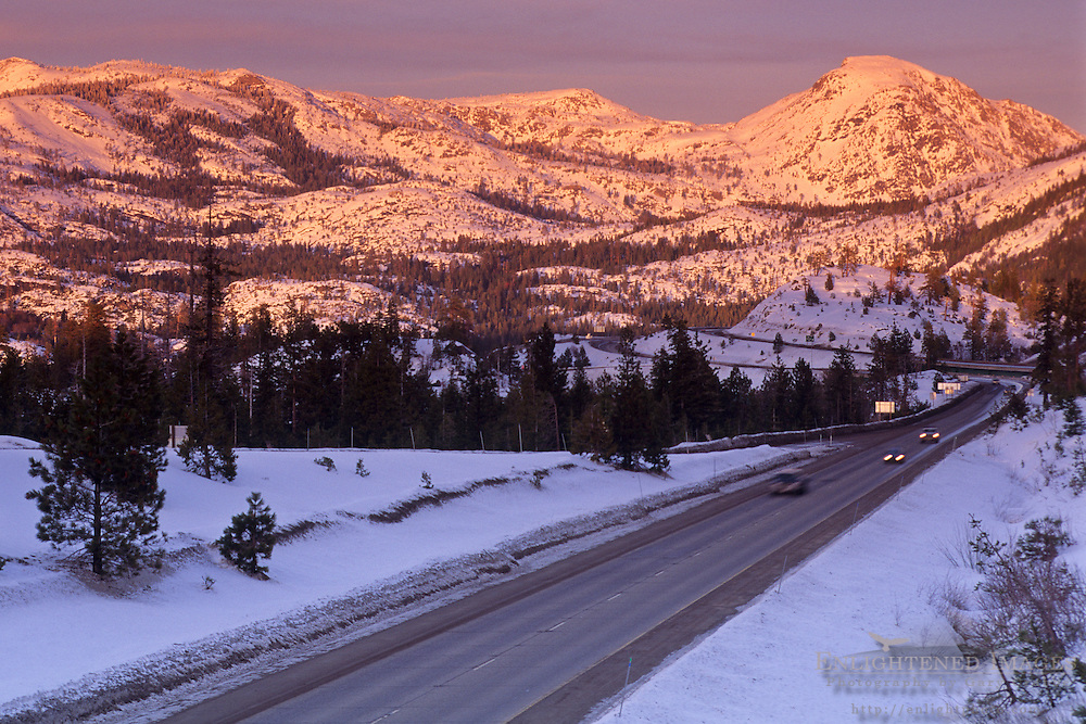 Sunset light on the mountain of the Sierra Nevada over Interstate 80 (I-80) highway near Emigrant Gap, Tahoe National Forest, California