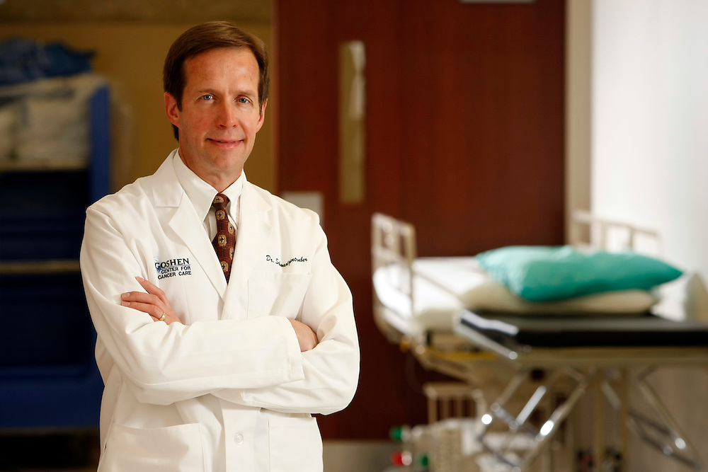 Dr. Douglas Schwartzentruber was named Time Magazine's top 100 in 2010. He is seen pictured at Goshen Center for Cancer Care in Goshen, Indiana. <br /> Columbus Corporate Photography