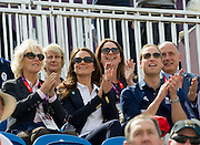 Members of The Royal Family today turned out to support Zara Phillips as she rode High Kingdom during the London 2012 Olympic Three Day Eventing at Greenwich Park.<br /> <br /> Army and Navy troops are working at the London 2012 Olympics equestrian venue providing security for the games at Greenwich Park.<br /> 30/07/2012.<br /> <br /> Credit should read: Corporal Mark Larner RY/MOD