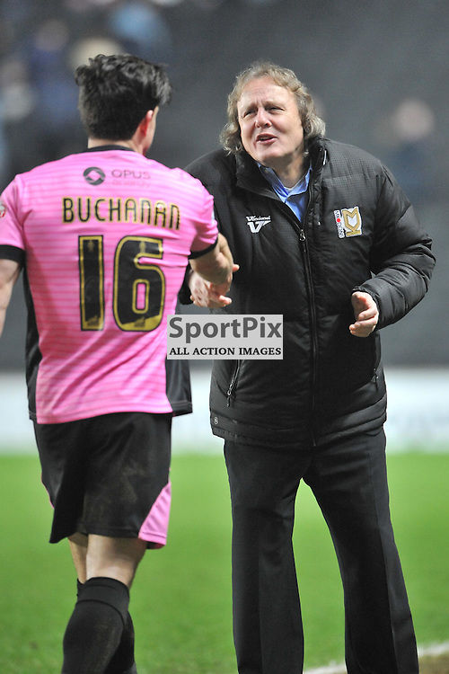 MK CHAIRMAN PETE WINKLEMAN APPLAUDS NORTHAMPTONS PLAYERS ON THE FINAL WHISTLE, MK Dons v Northampton Town, FA Cup Emirates FA Cup Third round Repay, Stadium MK, Tuesday 19th January 2016