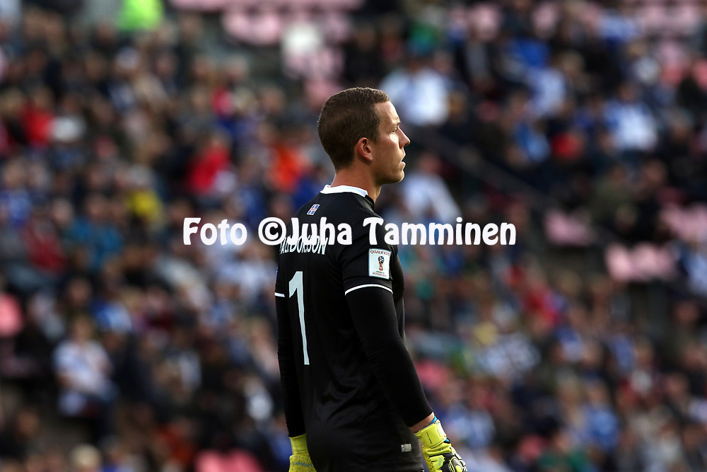 2.9.2017, Ratina Stadion, Tampere, Finland.<br /> FIFA World Cup 2018 Qualifying match, Finland v Iceland.<br /> Hannes Halld&oacute;rsson - Iceland
