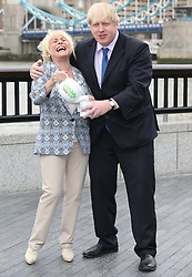 Mayor of London Boris Johnson and actress Barbara Windsor at the launch of the Big Lunch, held in London, Tuesday, 7th May 2013.  Photo by: Stephen Lock / i-Images
