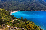 Picturesque coastline of Tukey with green trees and azure sea