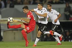 November 5, 2017 - Guimaraes, Guimaraes, Spain - Benfica's Portuguese forward Diogo Goncalves with Vitoria SC's Colombian midfielder Guillermo Celis during the Premier League 2017/18 match between Vitoria SC and SL Benfica, at Dao Afonso Henriques Stadium in Guimaraes on November 5, 2017. (Credit Image: © Dpi/NurPhoto via ZUMA Press)