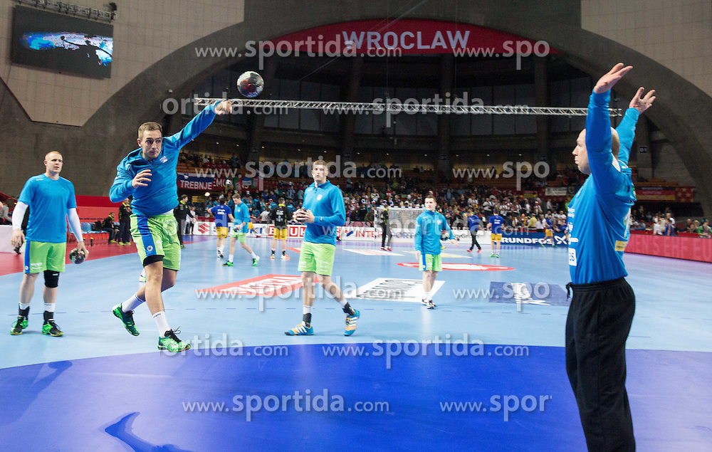 Gasper Marguc of Slovenia and Gorazd Skof of Slovenia during warming up prior to the handball match between National teams of Slovenia and Spain on Day 4 in Preliminary Round of Men's EHF EURO 2016, on January 18, 2016 in Centennial Hall, Wroclaw, Poland. Photo by Vid Ponikvar / Sportida