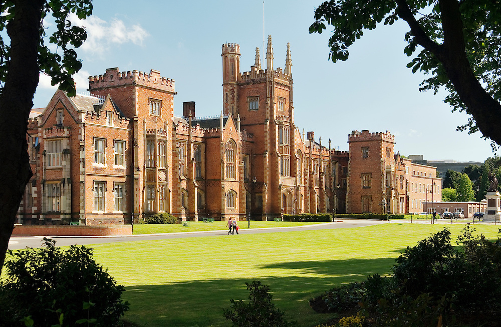 Queen's University, Belfast, Northern Ireland established 1845. The Gothic facade of the Lanyon Building.
