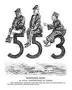 "Honourable Ratio; or, Naval Conversations in London. ""This despicable creature does not find his seat so satisfactory as you two illustrious persons find yours!"""