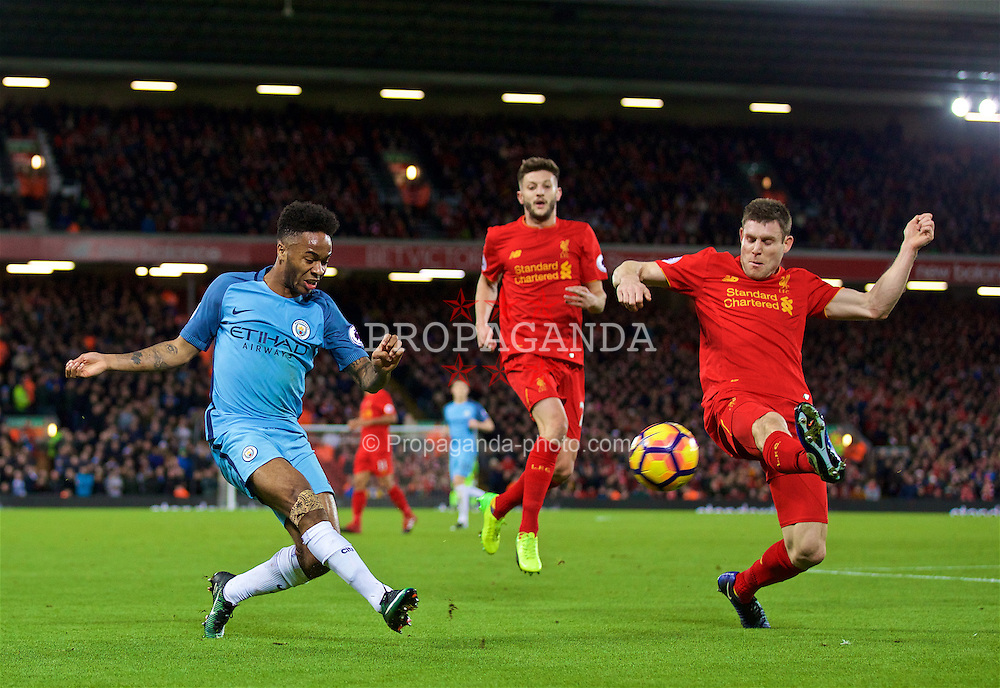 LIVERPOOL, ENGLAND - Saturday, December 31, 2016: Manchester City's Raheem Sterling and Liverpool's James Milner during the FA Premier League match at Anfield. (Pic by David Rawcliffe/Propaganda)