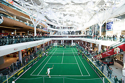EDITORIAL USE ONLY<br /> Former Wimbledon champion Pat Cash plays tennis against Great Britain&Otilde;s Johanna Konta to celebrate the release of new tennis movie &Ocirc;Battle of the Sexes&Otilde;, in partnership with cereal bar Nature Valley, at Westfield London in Shepherd&Otilde;s Bush.