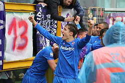 March 18, 2018 - Turin, Piedmont, Italy - Federico Chiesa (ACF Fiorentina) celebrates with team mates after the opening goal of Jordan Veretout during the Serie A football match between Torino FC and ACF Fiorentina at Olympic Grande Torino Stadium on 18 March, 2018 in Turin, Italy. Final results: 1-2  (Credit Image: © Massimiliano Ferraro/NurPhoto via ZUMA Press)