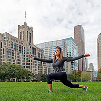 A student from Feinberg Medical school in Chicago stretches during a workout on the Chicago campus of Northwestern University