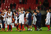 England forward Harry Kane and teammates applaud the fans after the FIFA World Cup Qualifier match between England and Slovenia at Wembley Stadium, London, England on 5 October 2017. Photo by Martin Cole.