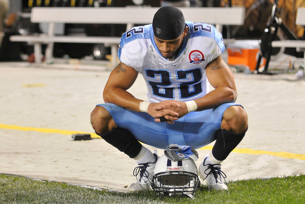 Sept 10, 2009; Pittsburg, PA, USA; Tennessee Titans safety Vincent Fuller (22) shows his disappointment with his team's overtime lose to the Pittsburgh Steelers at Heinz Field. The Steelers beat Titans 13-10 in overtime. Mandatory Credit: Jason Miller-US PRESSWIRE