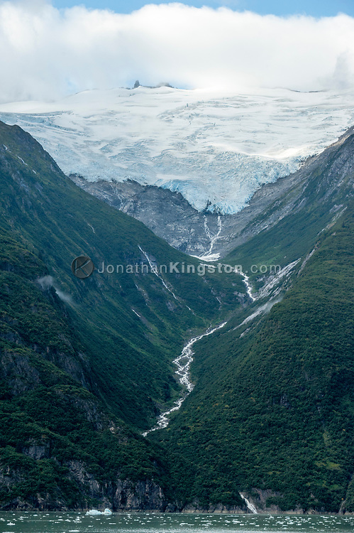 A retreating hanging glacier in Tracy Arm fjord, Alaska.