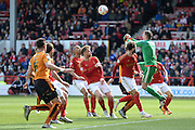 Nottingham Forest goalkeeper Dorus de Vries (1) punches the ball during the Sky Bet Championship match between Nottingham Forest and Wolverhampton Wanderers at the City Ground, Nottingham, England on 30 April 2016. Photo by Jon Hobley.
