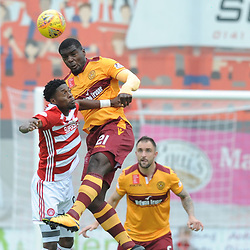Rakish Bingham and Cédric Kipré battle for the ball in the match between Hamilton Accies v Motherwell, Ladbrokes Premiership, The Super Seal Stadium, Saturday 14 October 2017  (c) Angie Isac | SportPix.org.uk