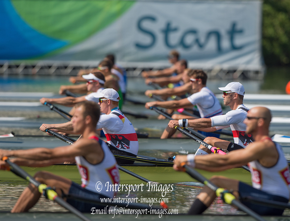 Rio de Janeiro. BRAZIL.  GER M2X. Bow. Marcel HACKER and Stephan KRUEGER, 2016 Olympic Rowing Regatta. Lagoa Stadium,<br /> Copacabana,  &ldquo;Olympic Summer Games&rdquo;<br /> Rodrigo de Freitas Lagoon, Lagoa. Local Time 10:41:58  Tuesday  09/08/2016 <br /> [Mandatory Credit; Peter SPURRIER/Intersport Images]