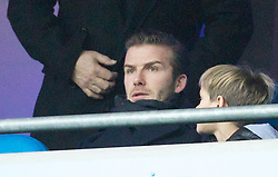 MANCHESTER, ENGLAND - Sunday, January 8, 2012: Former Manchester United player David Beckham in the stands before the FA Cup 3rd Round match between Manchester City and Manchester United at the City of Manchester Stadium. (Pic by Vegard Grott/Propaganda)