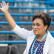 August 22, 2016, New Haven, Connecticut: <br /> New Haven Mayor Toni Harp is introduced during the Opening Ceremonies on Day 4 of the 2016 Connecticut Open at the Yale University Tennis Center on Monday August  22, 2016 in New Haven, Connecticut. <br /> (Photo by Billie Weiss/Connecticut Open)