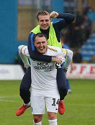 Callum Cooke of Peterborough United and Jason Cummings celebrate the win at full-time - Mandatory by-line: Joe Dent/JMP - 22/09/2018 - FOOTBALL - Medway Priestfield Stadium - Gillingham, England - Gillingham v Peterborough United - Sky Bet League One