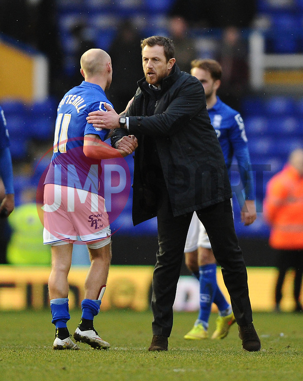 Birmingham City Manager, Gary Rowett  and Birmingham City's David Cotterill  - Photo mandatory by-line: Joe Meredith/JMP - Mobile: 07966 386802 - 28/02/2015 - SPORT - Football - Birmingham - ST Andrews Stadium - Birmingham City v Brentford - Sky Bet Championship