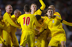 Manchester, England - Thursday, April 26, 2007: Liverpool's Robbie Threlfall (c) is mobbed by team-mates as he celebrates scoring the opening goal against Manchester United to level the tie 2-2 during the FA Youth Cup Final 2nd Leg at Old Trafford. L-R: Ray Putterill, captain Jay Spearing, Ryan Flynn, Stephen Darby, Craig Lindfield, Astrit Ajdarevic. (Pic by David Rawcliffe/Propaganda)