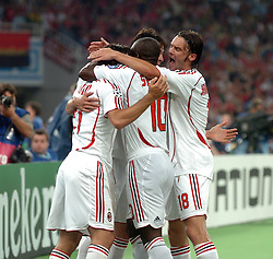 Athens, Greece - Wednesday, May 23, 2007: AC Milan's Andrea Pirlo, Clarence Seedorf and Marek Jankulovski celebrate the opening goal against Liverpool during the UEFA Champions League Final at the OACA Spyro Louis Olympic Stadium. (Pic by Jason Roberts/Propaganda)