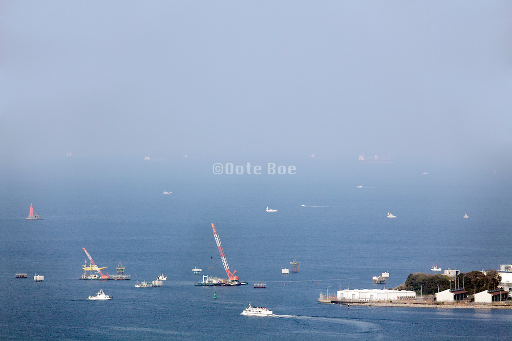 looking out over Tokyo Bay between Yokosuka and Yokohama Japan
