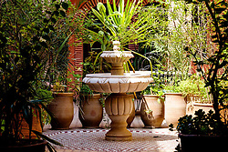 A fountain in a small garden in the Rue Kennaria, Marrakech, Morocco, North Africa<br /> <br /> <br /> <br /> (c) Andrew Wilson | Edinburgh Elite media