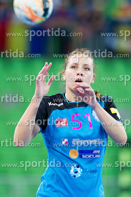 Marija Obradovic of RK Krim Mercator during handball match between RK Krim Mercator (SLO) and HCM Baia Mare (ROM) in 1st Round of Women's EHF Champions League 2015/16, on October 16, 2015 in Arena Stozice, Ljubljana, Slovenia. Photo by Urban Urbanc / Sportida