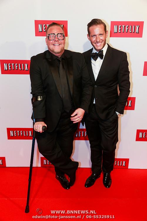 NLD/Amsterdam/20130911 - Lancering Netflix in Nederland, Bastiaan van Schaik en Morris Nieuwenhuis