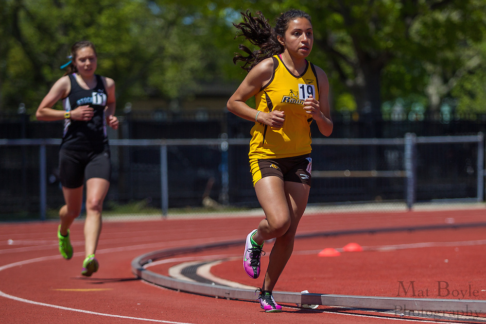 Rowan University's Priscilla Antuna competes in the women's 5000 meter at the NJAC Track and Field Championships at Richard Wacker Stadium on the campus of  Rowan University  in Glassboro, NJ on Sunday May 5, 2013. (photo / Mat Boyle)