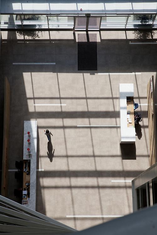 Shadows in the lobby of Alice Lane Towers, Norton Rose building lobby, Sandton, Johannesburg