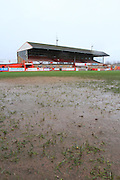 The Vanarama National League match between Cheltenham Town and Kidderminster Harriers at Whaddon Road, Cheltenham, England on 2 January 2016 has been postponed due to a waterlogged pitch.  Photo by Antony Thompson.