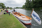 Henley on Thames, United Kingdom. 2016 Henley Masters' Regatta. Henley Reach. England. on Saturday  09/07/2016   [Mandatory Credit/ Peter SPURRIER/Intersport Images]<br /> <br /> Umpirs Launch, Rowing, Henley Reach, Henley Masters' Regatta.<br /> <br /> General View,  Henley Reach, venue, for the 2016 Henley Masters Regatta.