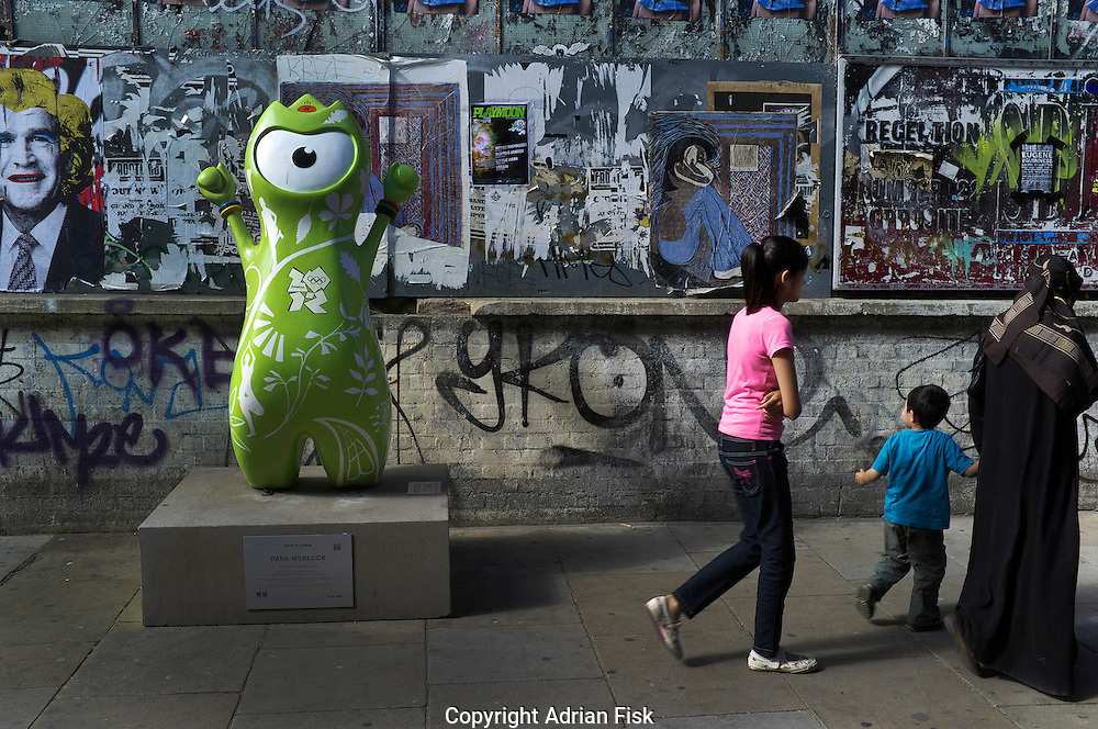 The Olympic mascot Wenlock seen in Brick Lane in East London