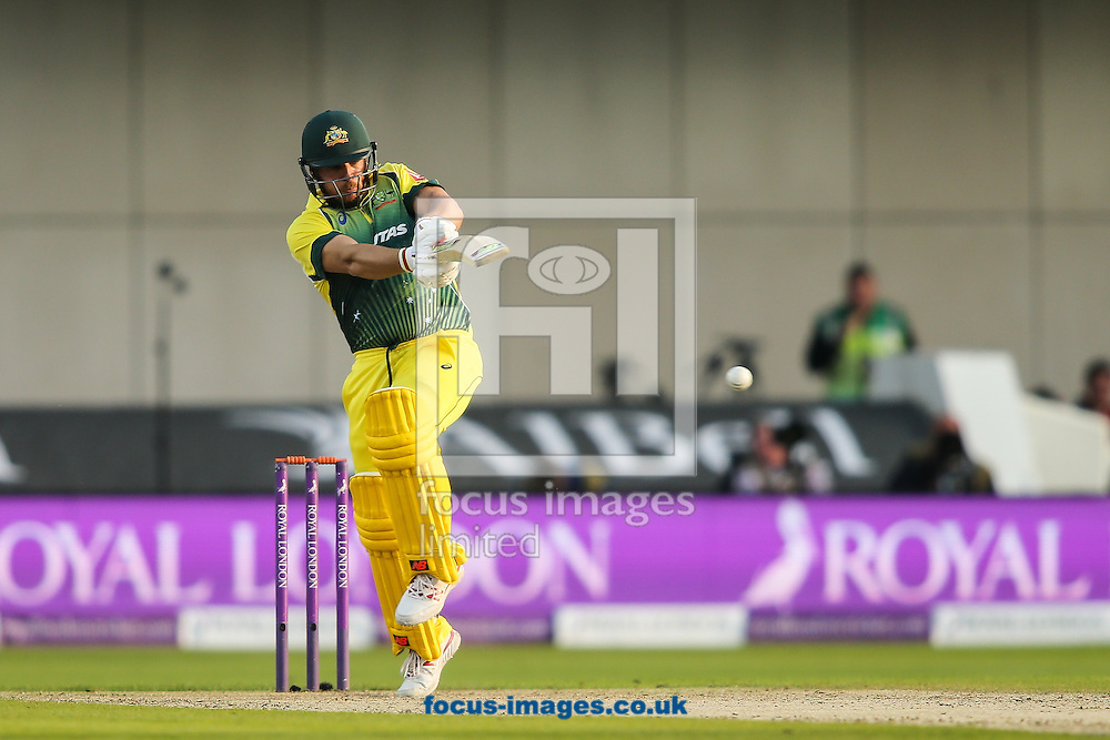 Aaron Finch of Australia hits the ball to the leg side during the 3rd One Day International match at Old Trafford Cricket Ground, Stretford<br /> Picture by Andy Kearns/Focus Images Ltd 0781 864 4264<br /> 08/09/2015