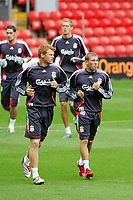 Fotball<br /> Foto: Propaganda/Digitalsport<br /> NORWAY ONLY<br /> <br /> LIVERPOOL, ENGLAND - TUESDAY, AUGUST 8th, 2006: Liverpool FC's Craig Bellamy and John Arne Riise during a training session ahead of the club's UEFA Champions League 3rd Qualifying Round 1st Leg match against Israel side Maccabi Hafia at Anfield.
