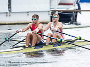 Henley Royal Regatta, 3-7 July 2019. J.E. Collins & G.E. Thomas, crossing the Finish Line, in the Final, of the Double Sculls Challenge Cup, Royal Henley Peace Regatta Centenary, 1919-2019. Henley on Thames.<br /> <br /> <br /> <br /> [Mandatory Credit: Patrick WHITE/Intersport Images], 7, 07/07/2019,  12:57:12