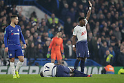 Tottenham Hotspur defender Serge Aurier (24) signals to the bench that Tottenham Hotspur midfielder Moussa Sissoko (17) is injured during the EFL Cup semi final second leg match between Chelsea and Tottenham Hotspur at Stamford Bridge, London, England on 24 January 2019.