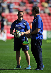 Bristol Rugby Academy Strength and Conditioning Coach Jonathan Harris-Wright speaks to First Team Coach Sean Holley - Photo mandatory by-line: Patrick Khachfe/JMP - Mobile: 07966 386802 06/09/2015 - SPORT - RUGBY UNION - Bristol - Ashton Gate - Bristol Rugby v Bedford Blues - Greene King IPA Championship