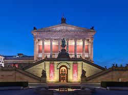Evening view of Alte Nationalgalerie on Museumsinsel or Museum Island in Berlin Germany